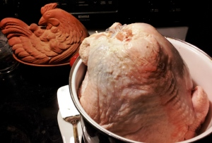 I brine the bird in salt, garlic, sage and pepper over night. In this case, the bird is too big, so I brine the breast.